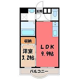 栃木県下都賀郡壬生町幸町2丁目の賃貸アパートの間取り