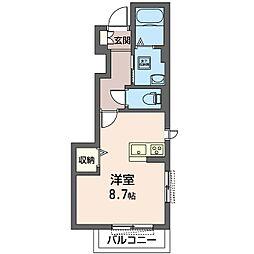 藤沢市長後シャーメゾン 1階ワンルームの間取り