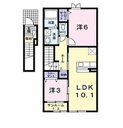 新潟県新発田市中曽根町3丁目の賃貸アパートの間取り
