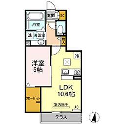 愛知県豊橋市草間町字郷裏の賃貸アパートの間取り