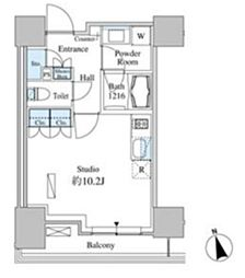 JR山手線 田町駅 徒歩13分の賃貸マンション 5階ワンルームの間取り