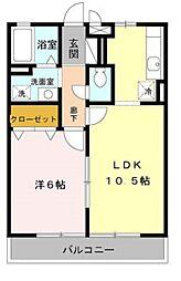 ハウス アム ノルデン 2階1LDKの間取り