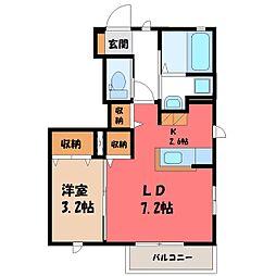 栃木県小山市西城南4丁目の賃貸アパートの間取り