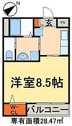 つくばエクスプレス 南流山駅 徒歩2分の賃貸マンション 5階1Kの間取り