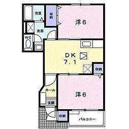 JR東海道本線 鴨宮駅 バス9分 関口川橋下車 徒歩12分の賃貸アパート 1階2DKの間取り