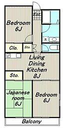 東京都稲城市矢野口の賃貸マンションの間取り