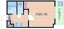 JR大阪環状線 京橋駅 徒歩1分の賃貸マンション 6階1Kの間取り