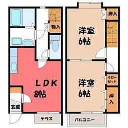 [テラスハウス] 栃木県真岡市下高間木1丁目 の賃貸【/】の間取り