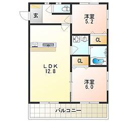 近鉄南大阪線 河内松原駅 徒歩15分の賃貸アパート 2階2LDKの間取り