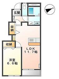 愛知県豊橋市飯村南1丁目の賃貸アパートの間取り