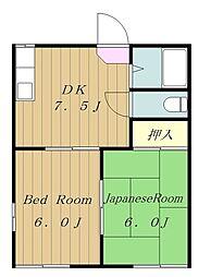 神奈川県大和市南林間5の賃貸アパートの間取り