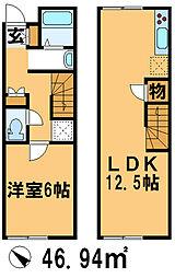 JR成田線 布佐駅 徒歩9分の賃貸テラスハウス 1LDKの間取り