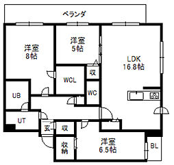 北海道札幌市中央区南一条東6丁目の賃貸マンションの間取り
