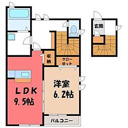 栃木県小山市東間々田2丁目の賃貸アパートの間取り