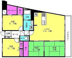 ローズヴィラ東加古川[6F号室]の間取り