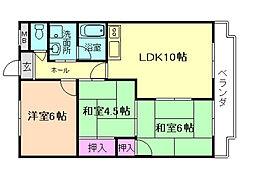 大阪府豊中市上野西2丁目の賃貸マンションの間取り