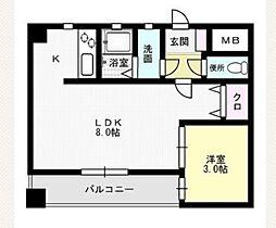 福岡県福岡市城南区七隈8丁目の賃貸マンションの間取り