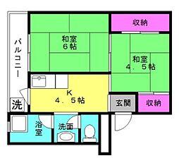 ビレッジハウス十王堂[3-202号室]の間取り