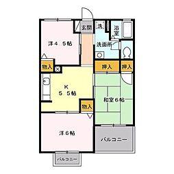 東京都日野市万願寺1丁目の賃貸アパートの間取り
