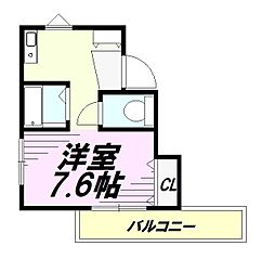 京王高尾線 高尾山口駅 徒歩10分の賃貸アパート 1階ワンルームの間取り