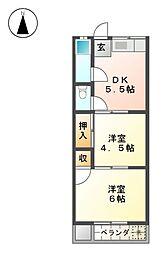 愛知県長久手市塚田の賃貸アパートの間取り