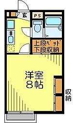 JR川越線 南古谷駅 徒歩19分の賃貸アパート 2階1Kの間取り