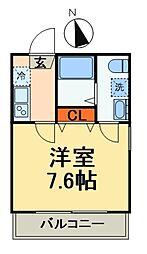 JR総武線 西船橋駅 徒歩9分の賃貸マンション 2階1Kの間取り