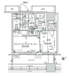 ローレルタワー ルネ浜松町 5階1LDKの間取り