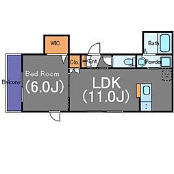 レ・セーナ代々木上原 2階1LDKの間取り