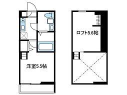 小田急小田原線 海老名駅 徒歩15分の賃貸アパート 1階1Kの間取り