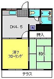 コーポしの[1階]の間取り