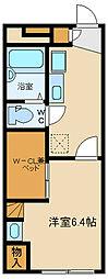 西武多摩湖線 武蔵大和駅 徒歩6分の賃貸アパート 1階1Kの間取り