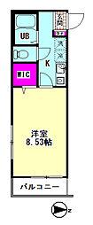 Polaris Haneda 1階1Kの間取り