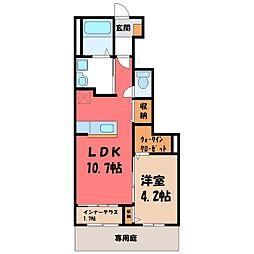 JR東北本線 石橋駅 徒歩12分の賃貸アパート 1階1LDKの間取り