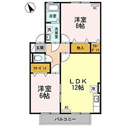 愛知県岡崎市牧御堂町字花辺の賃貸アパートの間取り