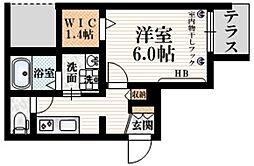 (仮称)大京町メゾン 1階1Kの間取り