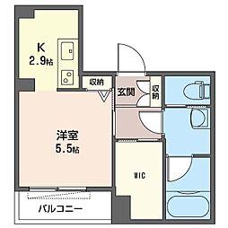 仮称 さいたま市大宮区宮町5丁目シャーメゾン 2階1Kの間取り