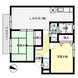 サンガーデン笹原A棟[2階]の間取り