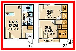 JR南武線 谷保駅 徒歩9分の賃貸テラスハウス 2階2LDKの間取り