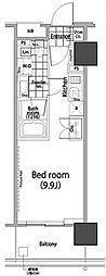 パークハビオ赤坂タワー 15階ワンルームの間取り