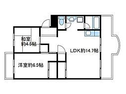 神奈川県座間市ひばりが丘1丁目の賃貸マンションの間取り