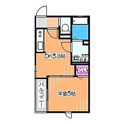 House-N 1階1DKの間取り