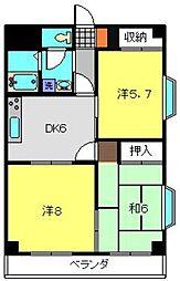 神奈川県横浜市港南区港南3丁目の賃貸マンションの間取り