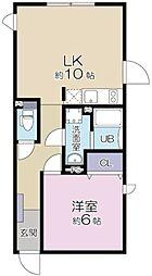 JR山手線 目黒駅 徒歩10分の賃貸マンション 2階1LDKの間取り