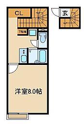 JR武蔵野線 新座駅 徒歩22分の賃貸アパート 2階1Kの間取り