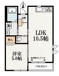 リッフェルハウス 2階1LDKの間取り