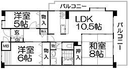 大阪府枚方市岡本町の賃貸マンションの間取り
