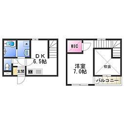 Osaka Metro谷町線 平野駅 徒歩1分の賃貸アパート 1階1DKの間取り