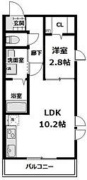 JR南武線 武蔵新城駅 徒歩5分の賃貸アパート 1階1LDKの間取り