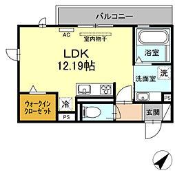 JR東海道本線 岡崎駅 徒歩35分の賃貸アパート 2階ワンルームの間取り